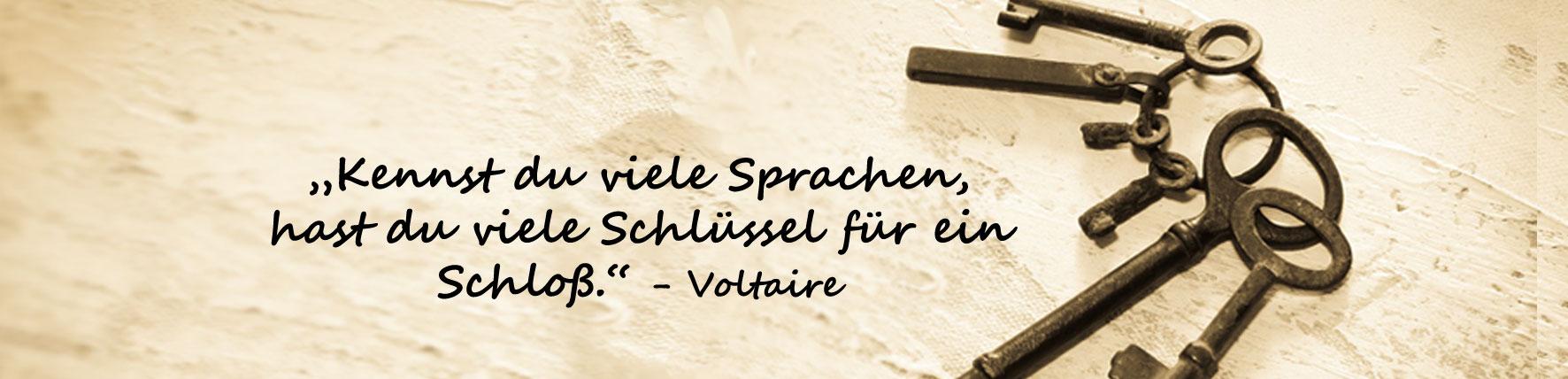 Sprachen-Schluessel-Spruch-Voltaire